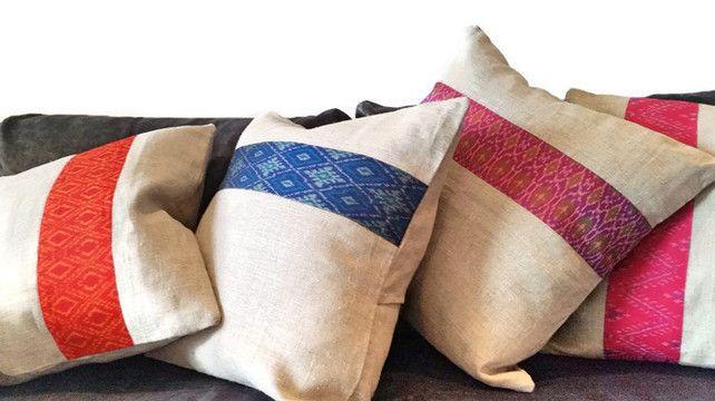 Linen Cushion, Ikat Cushion, Geometric Cushion, Blue Cushion, Couch Cushion