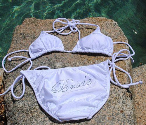 Bride Bikini Set for Honeymoon - Rhinestones - 5 colors / 3 sizes - Bridal Swimsuit on Etsy, $39.99
