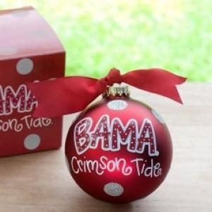 Support the Crimson Tide with this University of Alabama Large Dot Ornament on their Christmas tree. Go Bama! Roll Tide! Personalize it with a name or whatever you'd like for a unique spirited keepsake. All collegiate specialty glass ornaments come boxed and tied with a coordinating ribbon making them the perfect gift for anyone.