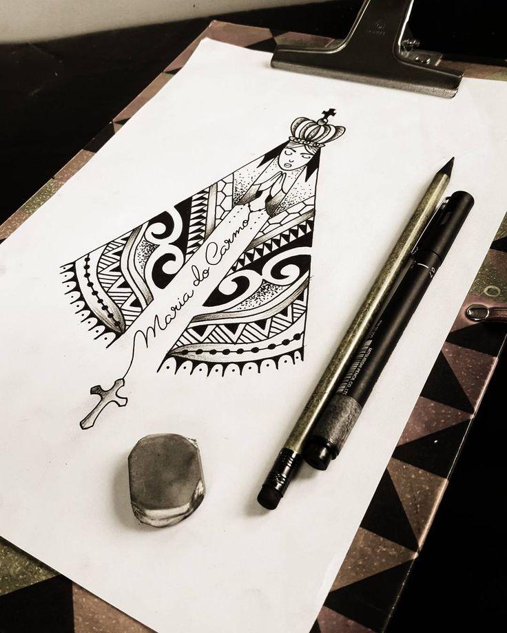 Rascunho que fiz para um cliente meu. Nossa Senhora Aparecida em maori. Desenho criado por mim! #tattoocaldara ...