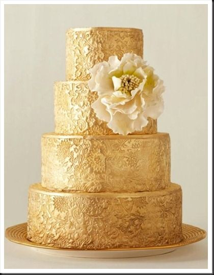 #Gold embossed #wedding #cake: Gold Weddings, Gold Cake, Gold Wedding Cakes, Wedding Ideas, Lace Cake, Beautiful Cake, Weddingideas