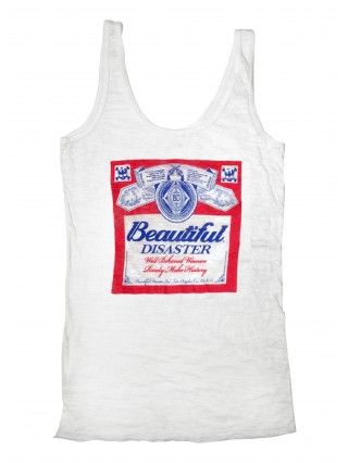 """Women's """"Summertime"""" Tank by Beautiful Disaster (White/Red)"""