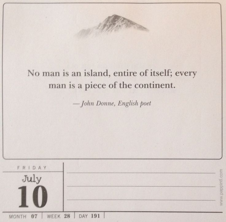 a review of john donnes no man is an island No man is an island no one is self-sufficient everyone relies on others this saying comes from a sermon by the seventeenth-century english author john donne.