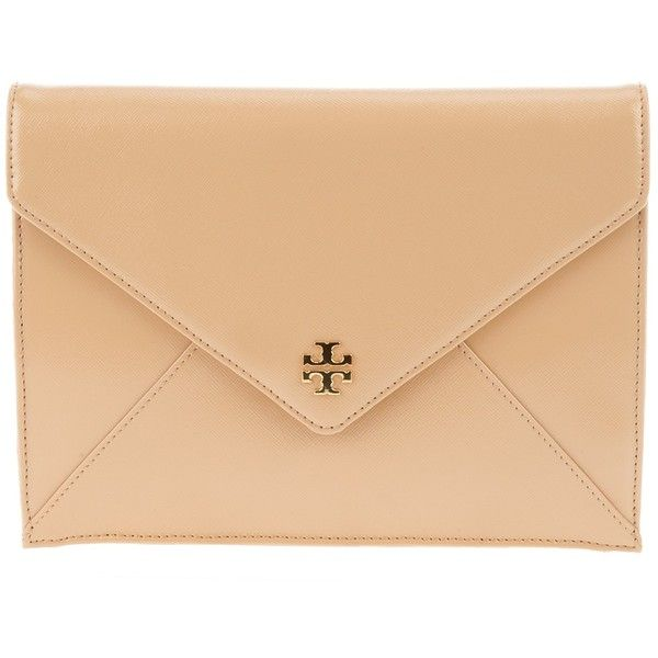 TORY BURCH Leather clutch ($370) ❤ liked on Polyvore featuring bags, handbags, clutches, purses, borse, leather handbags, beige leather handbags, fold-over clutches, nude purses and tory burch clutches