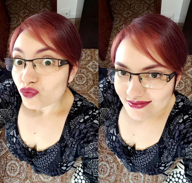 Red, red everywhere!  #redhead #purplelips #pixiehair #dailymakeup #notsoseriousselfie