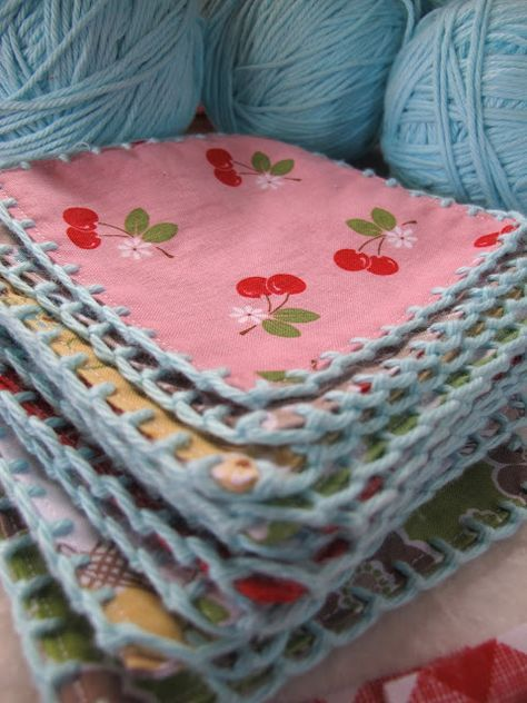 Adding crochet to fabric squares ~ tutorial (maybe use to make a fabric/ crochet granny square quilt? :D)