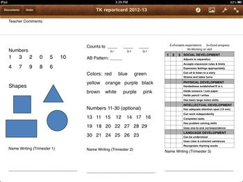 TK Transitional Kindergarten Report Card Pages IPAD trimes