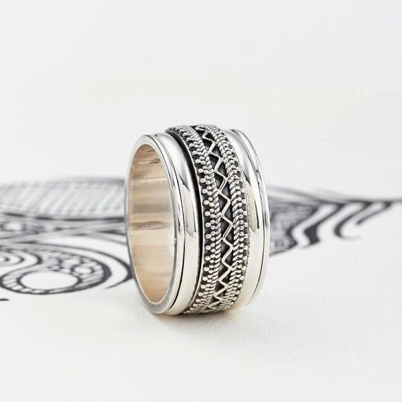 Men's Chunky Tribal Sterling Silver Spinning by CharlottesWebEtsy