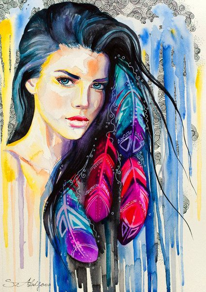 Colorful Feathers watercolor painting print, Woman, Blue, Imperial blue, Cobalt, Fashion Illustration