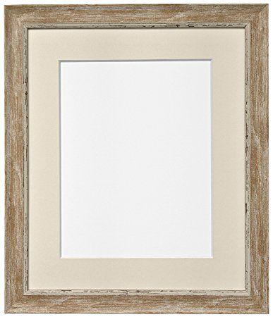 Frames by Post Cadre photo en bois effet vieilli nordique avec passe-partout ivoire, marron, 40x50cm Pic Size A3
