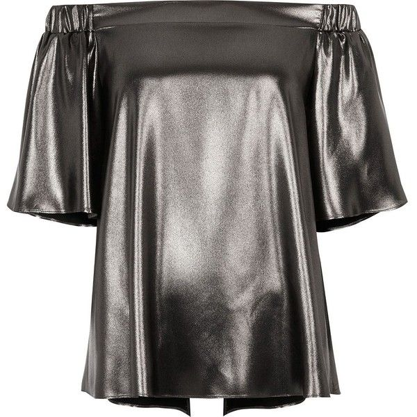 River Island Silver metallic bardot top (120 BRL) ❤ liked on Polyvore featuring tops, grey, metallic top, short sleeve tops, relaxed fit tops, river island top and river island
