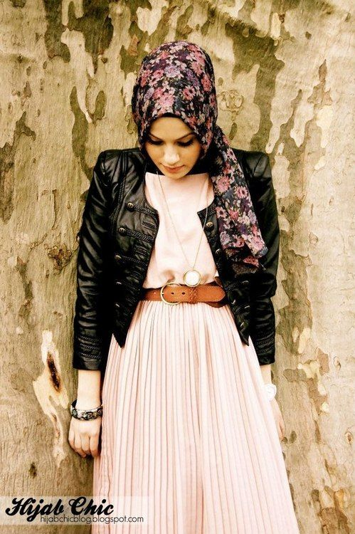 Pink, Pleather, Floral - Hijab  mixing hard and soft... and modest