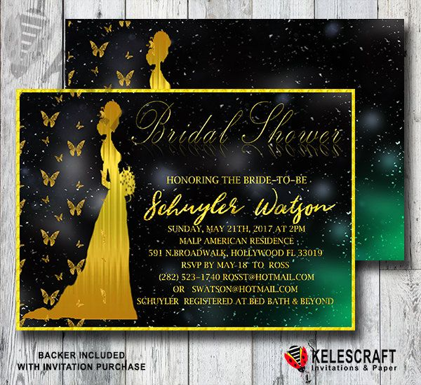 Golden Bride&Butterflies Bridal Shower Invitation Gold Glitter Bride Black and Gold Butterfly invitation invite bridesmaid DiY Printable by KelesCraft on Etsy