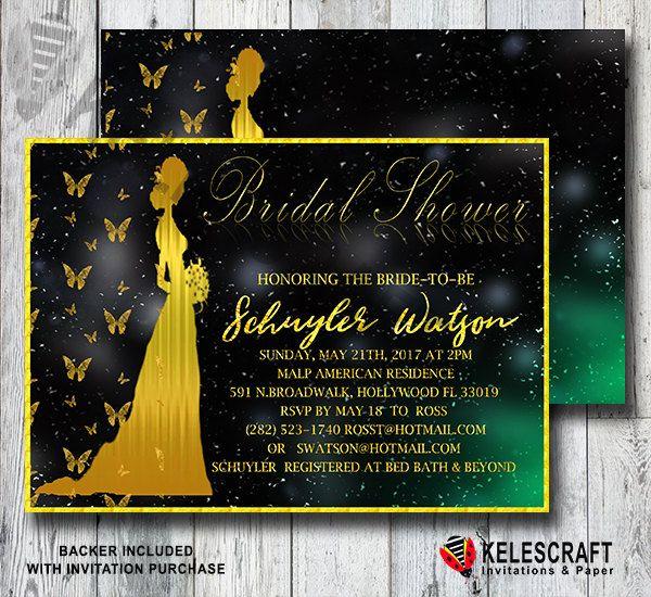 Golden Bride&Butterflies Bridal Shower Invitation Gold Glitter Bride Black and Gold Butterfly invitation invite bridesmaid DiY Printable by KelesCraft on Etsy