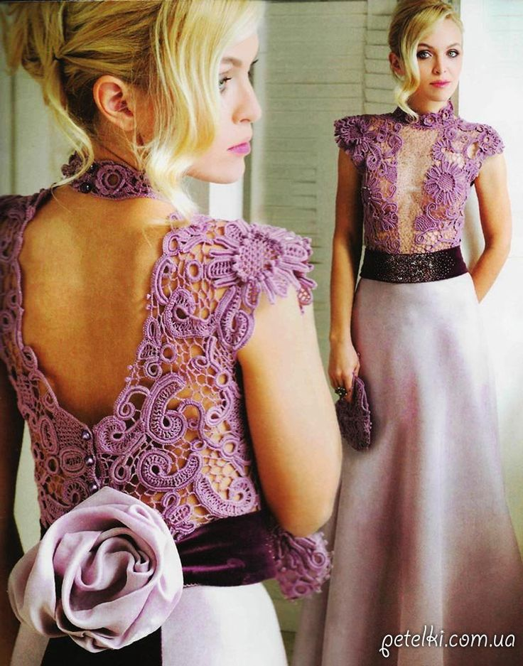 Шикарное платье с вязаным верхом. Описание, схемы