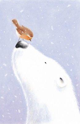 Polar bear and a bird by Gavin Scott