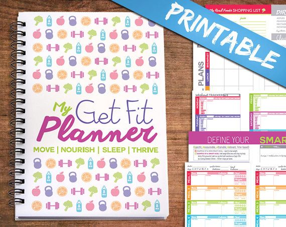 Printable Half Letter Sized All-In-One Get Fit Nutrition & Workout by PowerSnowDesigns on Etsy - Beautiful, Well Designed & Colorful Pages. Fitness | Notebook | Digital | PDF  |  Diet  |  Diary |  Exercise  |  Planner