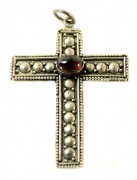 Stirling Silver Long Cross Pendant with Necklace with Amber semi precious stone  $38.00
