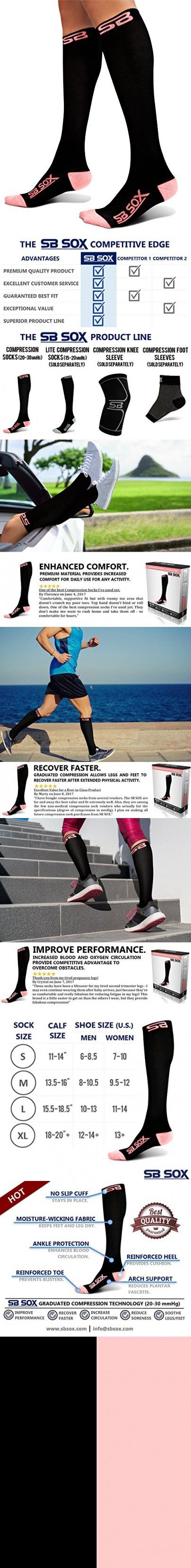 SB SOX Compression Socks (20-30mmHg) for Men & Women - BEST Socks for Running, Medical, Athletic, Varicose Veins, Travel, Pregnancy, Shin Splints, Nursing. (Black/Pink, Medium)