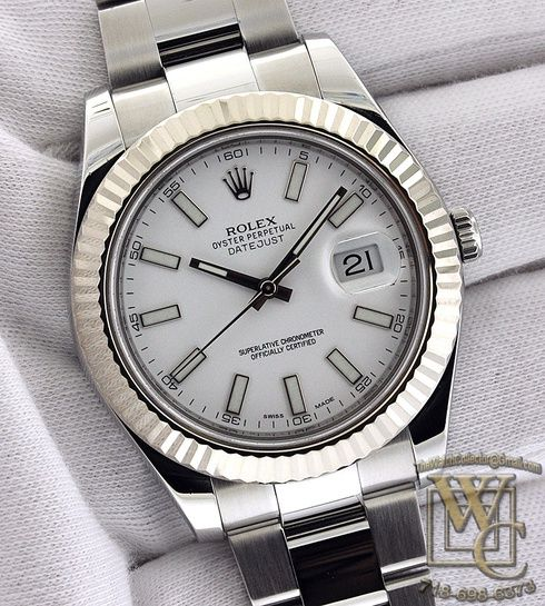 Rolex Datejust II 41mm in steel and 18K white gold bezel model 116334. White Stick dial on Oyster bracelet. As new and mint.