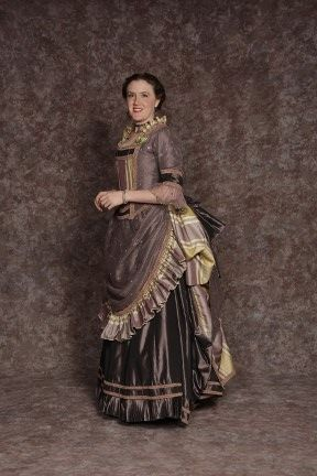 $45.00 Costume Rental  Donna Lucia Plum  purple skirt & bodice w/sheer overlay, striped bustle & front panel