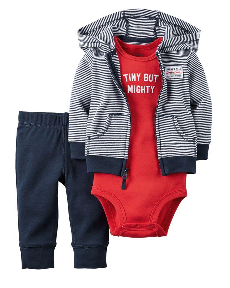 Ensemble 3 pièces cardigan très doux pour bébés garçons | Carter's OshKosh Canada