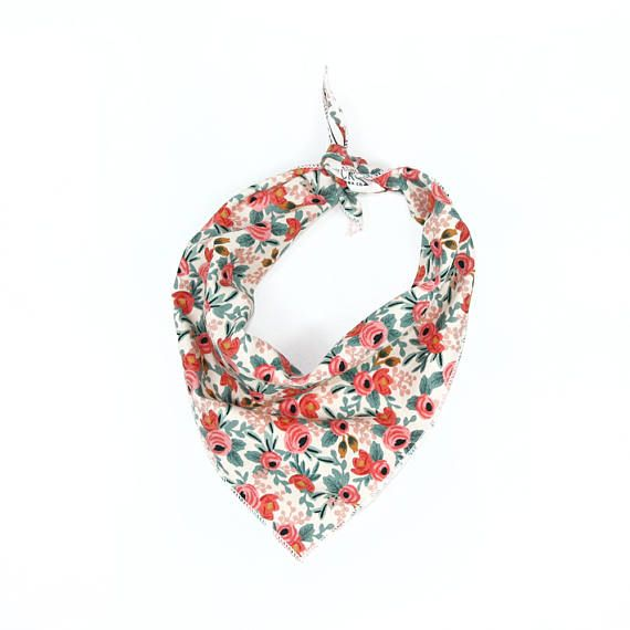 Celebrate spring & summer with this floral print bandana. Fabric is printed in Japan. Made in a smaller size, perfect for smaller dogs and cats. Can be adjusted simply by rolling down the top edge and ties around the neck.  Measures Approximately 14 x 14 x 19 on the longest side to be tied around the neck. Fits neck sizes up to 12. For larger dogs, we recommend using a full size bandana, see our shop to view the entire collection.  *CUSTOMIZE YOUR BANDANA* Add your dogs name or any text y...