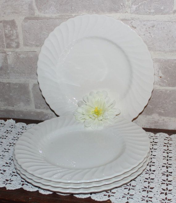 White dinner plates 10.25 inch set of 4 Farmhouse by Prettydish
