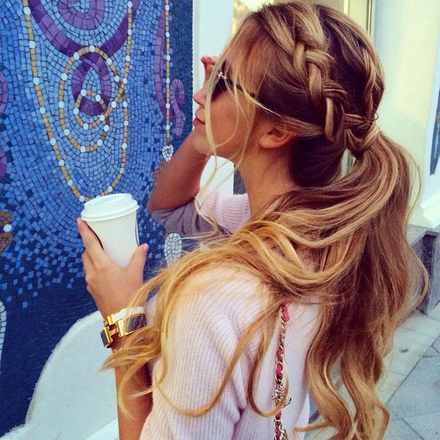 Chunky Side Dutch Braid and Thick, Long, Curled Ponytail