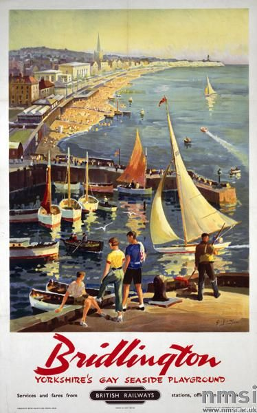 Poster, British Railways (North Eastern Region), Bridlington, Yorkshire's Gay Seaside Playground by George Ayling, 1958. Depicts the harbour, with sailing yachts, the seafront and town beyond, with Flamborough Head in the distance. Printed by Staffords & Co. Ltd, Netherfield, Nottingham.