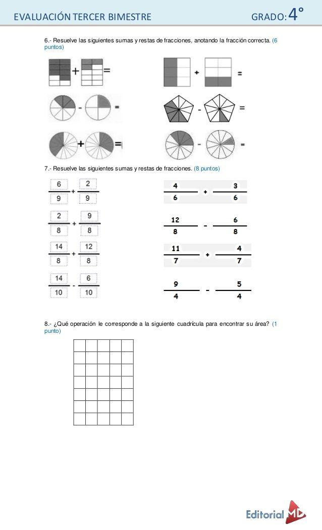 Examen Para Primaria Cuarto Grado Math Grado Urbana