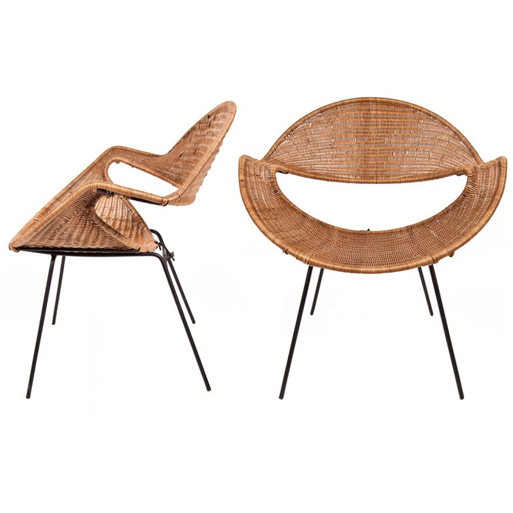 Pair Of Rattan Side Chairs By Terrence Conran