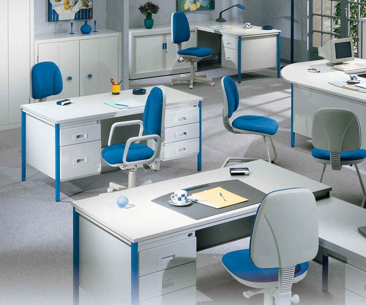 Office, Blue White Color Scheme Applied In Contemporary Office That Completed With Simple And Stylish Office Desk And Chairs: Inspiration Design Ideas for Office Interior Setting and Decorations