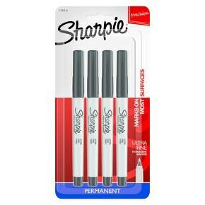 Sharpie 4ct Black Ultra Fine tip Permanent Marker : Target