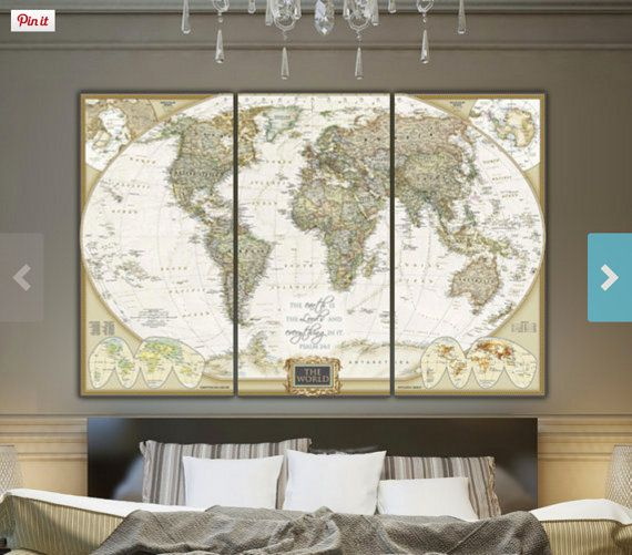 Detailed World Map, Updated map created within last 10 years, Map on Canvas, World Map Canvas, Large canvas