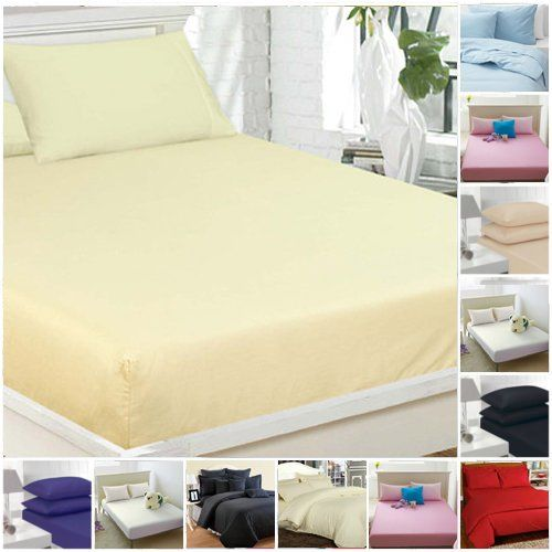 From 9.99 Highliving Flat Sheets Percale Plain Dyed Poly Cotton Single Double King Size (double Cream)