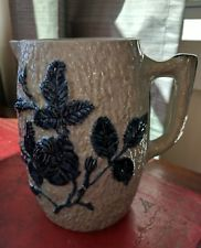 Antique Whites Utica American Stoneware Pitcher Embossed Rose 19th Century