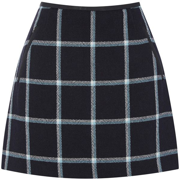 OASIS Check Marley Mini Skirt ($66) ❤ liked on Polyvore featuring skirts, mini skirts, bottoms, blue, short skirts, checkered skirt, checked skirt, checkerboard skirt and short summer skirts