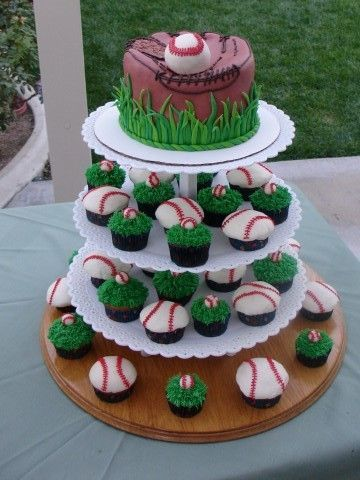 Baseball Glove & Cupcake Tower - Just another view of the glove with the matching cupcakes! TFL