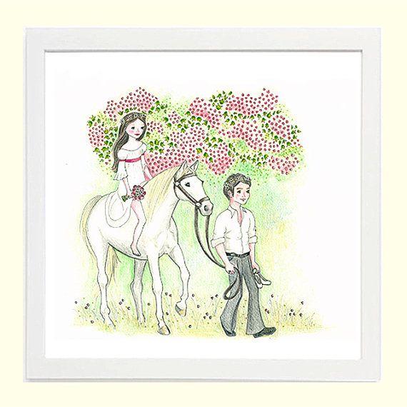 Fairytale Romance - Whimsical Children's Art 8x8 Giclee Print