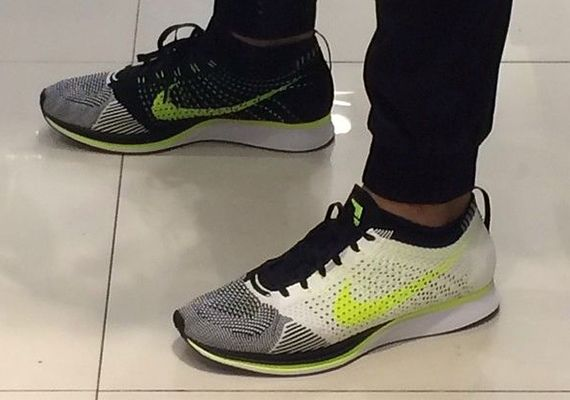 Nike Flyknit Racer  White, Black and Volt.