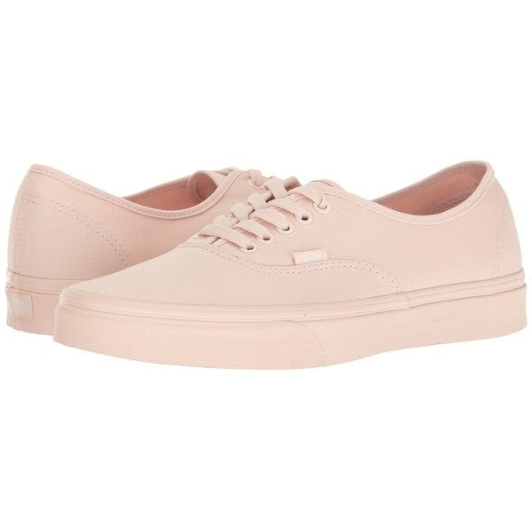 Vans Authentic ((Mono Canvas) Peach Blush) Skate Shoes ($50) ❤ liked on Polyvore featuring shoes, sneakers, light weight shoes, breathable sneakers, lightweight sneakers, canvas trainers and vans sneakers