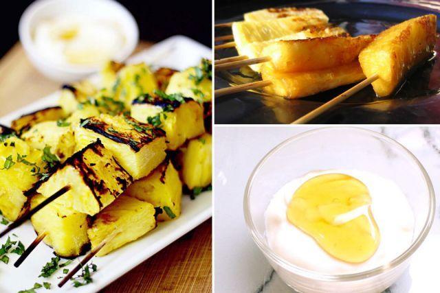 Doux desserts de l'été Brochettes d'ananas au barbecue