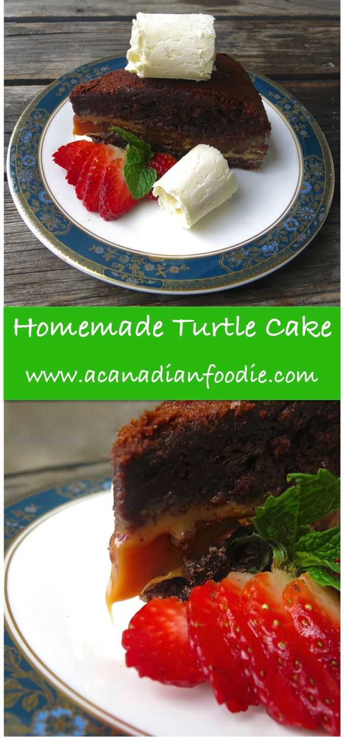 Homemade Turtle Cake with Homemade Caramel Filling: A Canadian Foodie Original Recipe... from the 80's out of a box, now transformed to knock off your socks!