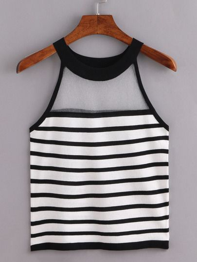 Sheer Halter Neck Black White Striped Knitted Top.