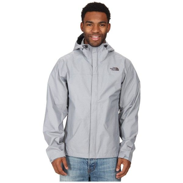 The North Face Venture Jacket (Mid Grey Heather) Men's Jacket featuring polyvore, men's fashion, men's clothing, men's outerwear, men's jackets, mens grey jacket, mens lightweight waterproof jacket, mens waterproof jacket, mens sherpa lined jacket and mens light weight jackets