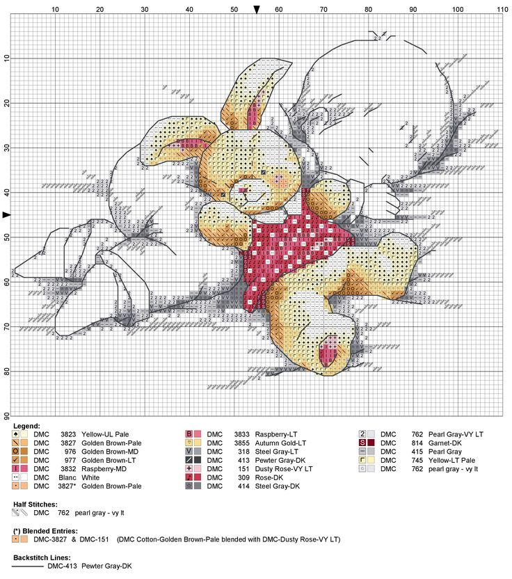 Birth sampler Sleeping with Bunny