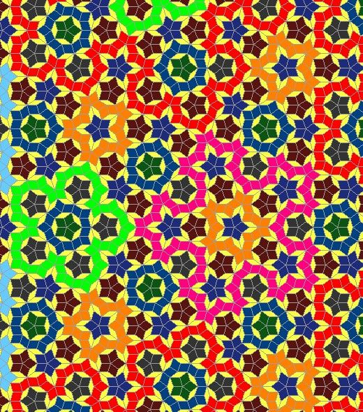 Penrose Tiling Quilt Patterns.  Strong colors may not be pretty, but they delineate the units more clearly than more subtle colors.