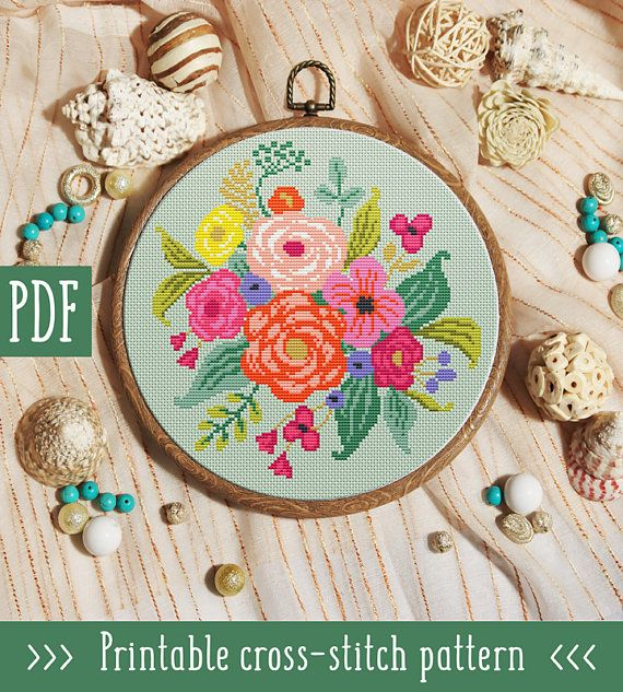 Bouquet Flowers Cross Stitch Pattern This pattern is an instant download PDF. Size: 108w x 111hstitches 14 count Mint Green Aida: approx. 7.71 x 7.93 inches or 19.59 x 20.14 cm Stitches Required: Full cross stitches Colors Required: 14 DMC floss colors PDF Included: - Pattern in