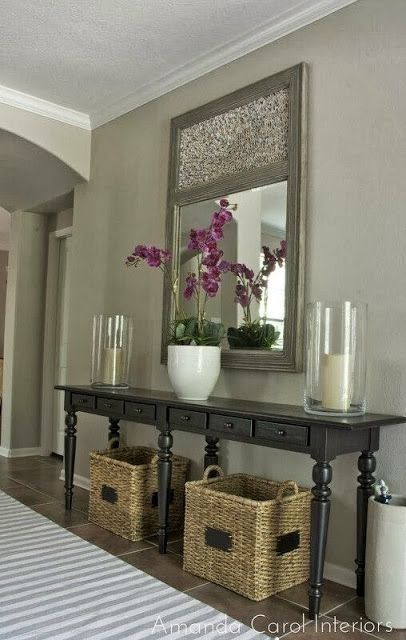 Diy Home decor ideas on a budget. Beautiful!  Need some baskets for under our console in the den!  Good place to collect purses, etc. by mtan3da